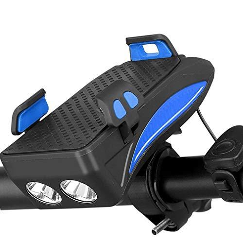 Qivor Luz de Bicicleta multifunción USB Recargable LED LED Lámpara de Cabeza de Bicicleta Bicicleta Teléfono Teléfono PowerBank 4 en 1 MTB Ciclismo Frontal Luz (Color : 4000MAH)