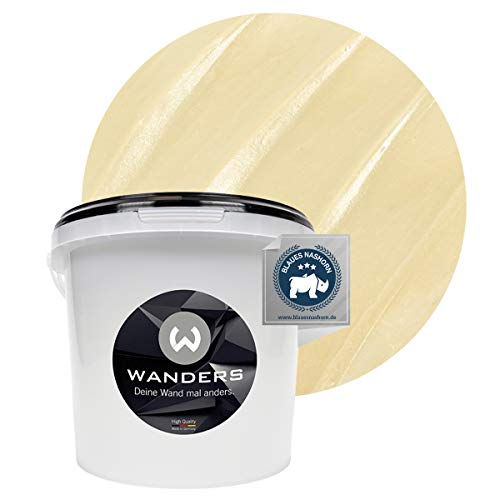 Wanders24® Metall-Optik (3 Liter, Champagner) Wandfarbe Metallic - zum Spachteln im Metallic Look - in 17 edlen Farbtönen erhältlich - Made in Germany