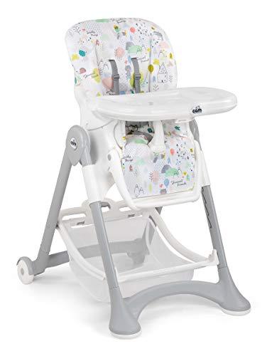 CAM Hochstuhl CAMPIONE | Baby-Stuhl mitwachsend & vielseitig verstellbar inkl. Tablett | Abwaschbares Kissen | Weiche Polsterung & verstellbarer Gurt | Kinder-Hochsitz - Made in Italy (Happy Animals)