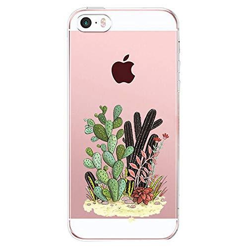 AIsoar Custodia iPhone SE, Cover iPhone 5S iPhone 5 Silicone, Cover per iPhone 5s 5 SE Panda Case Custodia Silicone Trasparente Morbido Ultra Sottile Gel Protettiva Shock-Absorption (Cactus1)