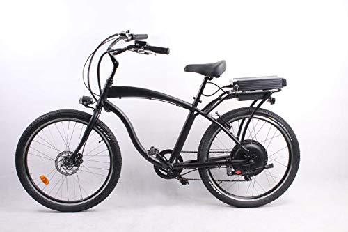 móvil 500W 48V 10.4AH Bicicleta eléctrica 26'x2.125 Bicicleta Cruiser 7 Velocidad Shimano Desviador Snow Beach eBike Bicicleta Sistema de Freno...