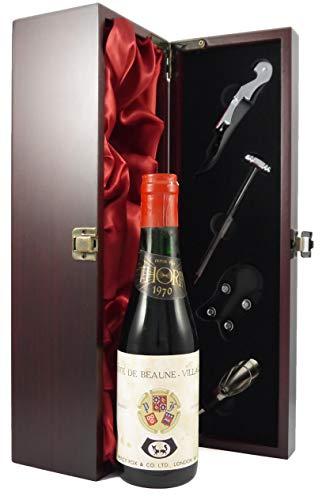 Cotes de Beaune Villages 1970 Thorin 1/2 bottle in einer mit Seide ausgestatetten Geschenkbox. Da zu vier Wein Zubehör, Korkenzieher, Giesser, Kapselabschneider,Weinthermometer, 1 x 375ml