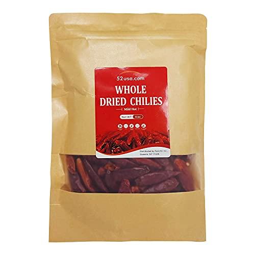 52USA Szechuan Red Dried Chilis, Whole Chili, Mild Spicy Chinese Chili 4 Oz (Mild Hot)