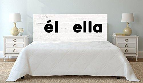Tête de lit PVC Texte Il Elle sur Bois Blanc sur Bois Blanc| 100x100cm | Disponible en différentes Tailles | Tête de lit léger, élégant, résistant et économique