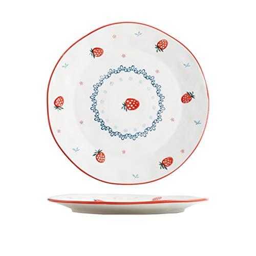 YINGYINGSM Teller Rote Erdbeermuster Keramiksteak Nahrungsmittelplatte Teller Rice Obst Salat Nudeln Nudeln Schüssel Porzellan Geschirr Abendteller Teller Set Küche (Color : 10 Inch Plate)