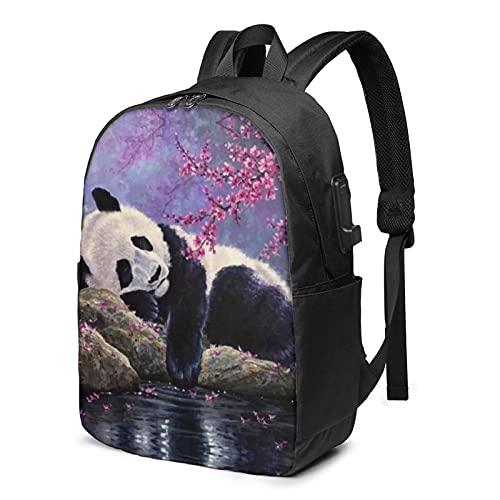 Panda Zaino, Viaggio Laptop Zaino con Porta di Ricarica USB per Uomo e Donna 17', Come mostrato, Taglia unica,
