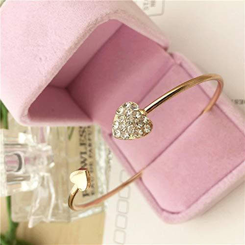 Pulsera Mujer Muchacha Pulsera de Apertura de puño de Doble Arco de Doble corazón de Cristal Ajustable de Moda para el Regalo de joyería para Mujer Gold