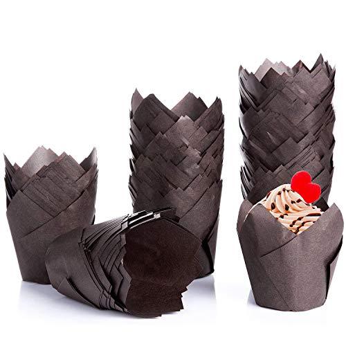 Diealles Shine 200 Stück Tulpen-Backförmchen, Tulpen Backpapier Schalen Papier Cupcake Wrapper Papier Kuchen Cup Muffin Einlagen Papierförmchen für Dessert Muffins, Braun