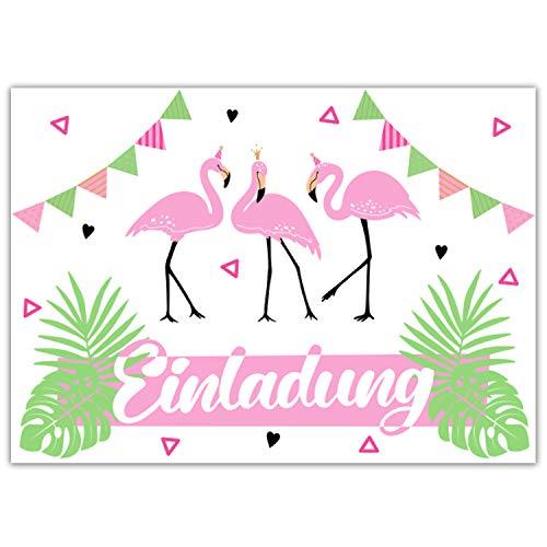 Pandawal 12x Einladungskarten Kindergeburtstag Mädchen mit Flamingo Motiv perfekte Einladung für Geburtstag Ausflug JGA Party Kinderparty