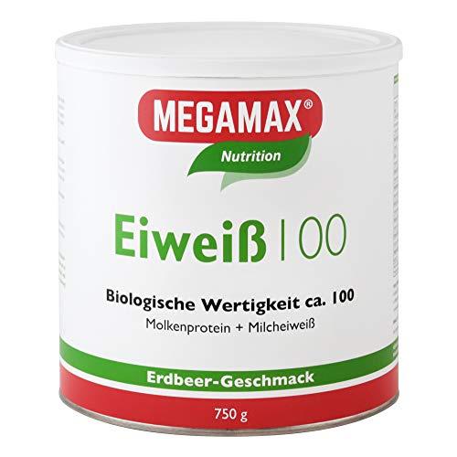MEGAMAX Nutrition Eiweiß 100 Pulver Erdbeer-Geschmack, 750 g Pulver