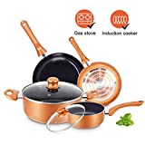 KUTIME 6pcs Cookware Set Pot and Pan Set Non-stick Frying Pans Set Ceramic Coating Soup Pot, Milk Pot, Copper Aluminum Pan with Lid Gas Induction Compatible, 1 Year After sale service