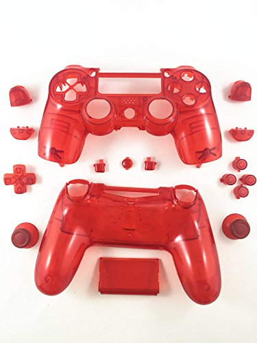 E-fire Replacement Transparent Red Full Housing Shell + Buttons for PS4 Playstation 4 Dualshock 4 Replacement Parts PS4 Clear Red Controller Shell PS4 Controller Repair Kit Ps4 Controller