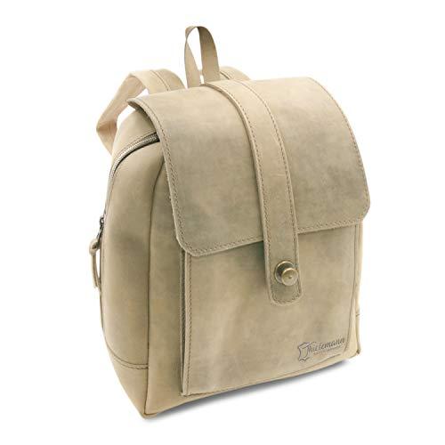 Made in Germany Day Bag - Damen Rucksack Sofia im Vintage-Style aus braunem Leder inkl....