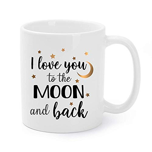 O1FHW-8 11 OZ Mugs Funny I Love You to The Moon and Back Ceramic Coffee/Tea Cups Gag New Year/Birthday Presents for Boyfriend/Girlfriend/Husband/Wife - 11 Oz Kaffeetasse