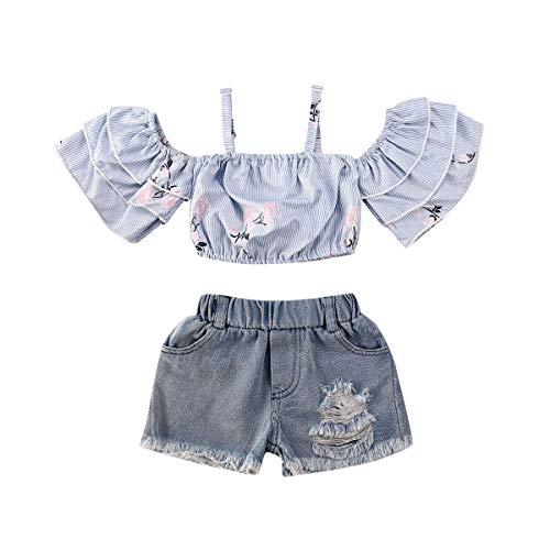 Miaouyo Set di Abbigliamento Estivo per Neonate Top Corto con Spalle Scoperte e Volant Floreale + Pantaloncini di Jeans (Blu, 12-18 M)