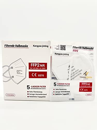Tradeforth GmbH 100x FFP2 Schutzmaske - 5 Lagig - CE0370 - Dermatest: SEHR GUT