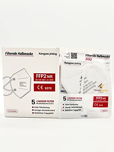 Tradeforth GmbH 100x FFP2 Schutzmaske 5-Lagig hygienisch einzelverpackt CE0370 Zertifiziert nach EU 2016/425