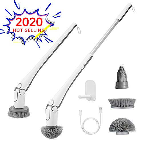 GOOD PAPA Electric Spin Scrubber Cordless Shower Scrubber, 360 Corner/Grout Brush Scrubber with 3 Replaceable Cleaning Brush Head and Adjustable Extension Handle for Tub, Tile, Floor