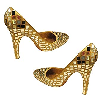 MY SWANKY HOME Gold Mirror Mosaic 6  High Heel Shoe Pair   Tabletop Accent Centerpiece