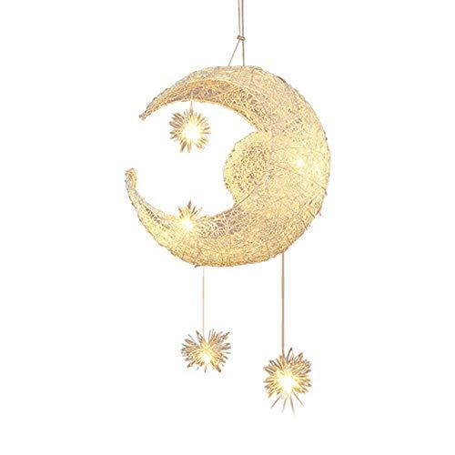 Lampadario a sospensione con luna e stelle, per cameretta dei bambini, soggiorno, lampada a sospensione a LED, lampada a sospensione Fairy