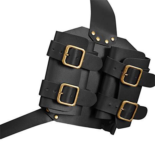 Schwerthalter Schwertgürtelhalter aus PU Leder,Gürtelhalter für Schwerter Verstellbar aus PU Leder Doppelte Rückenscheide Mittelalterlich Retro Breitschwert Schwertset im Draussen (Schwarz)
