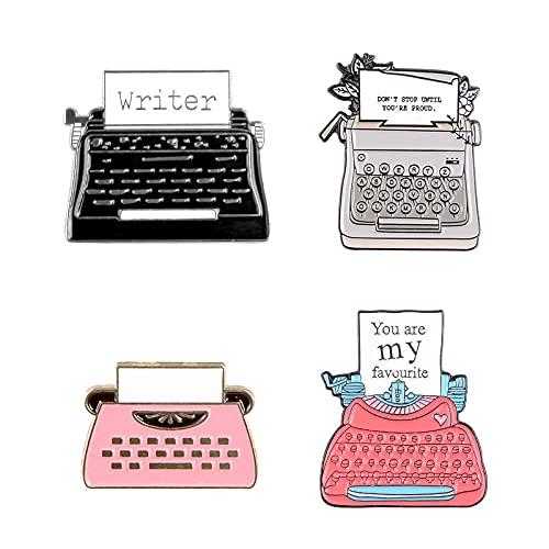 JKDFGJ 4 Stück Schreibmaschine Emaille Pin Schreibbroschen für Rucksack Kleidung Anstecknadel Abzeichen Cartoon Spaß Schmuck Geschenk für Kinder Freunde