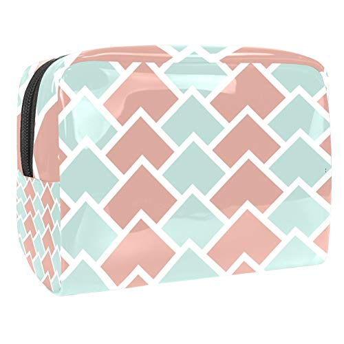Portable Makeup Bag with Zipper Travel Toiletry Bag for Women Handy Storage Cosmetic Pouch Light Green and Pink