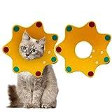 Gsrhzd Collar isabelino Gato, Ajustable Collar de Recuperación para Mascota, Collar de recuperación de 2 Piezas después para la recuperación de una cirugía o Herida para Perros y Gatos (Amarillo, M)
