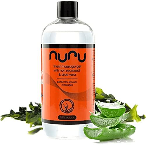Nuru Massagegel (500 ml) – Body-to-Body Massage Gel für sinnliche Massagen, problemlos abspülbar, mit Nori Algen, pH-neutral, frei von Tierversuchen