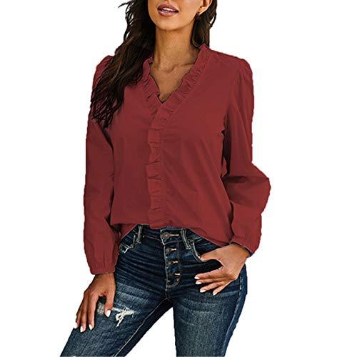 Camisas De Lujo para Mujer, Camisa Casual Lisa con Volantes con Cuello En V para Mujer, Blusas Sueltas De Manga Larga Sin Arrugas para Mujer
