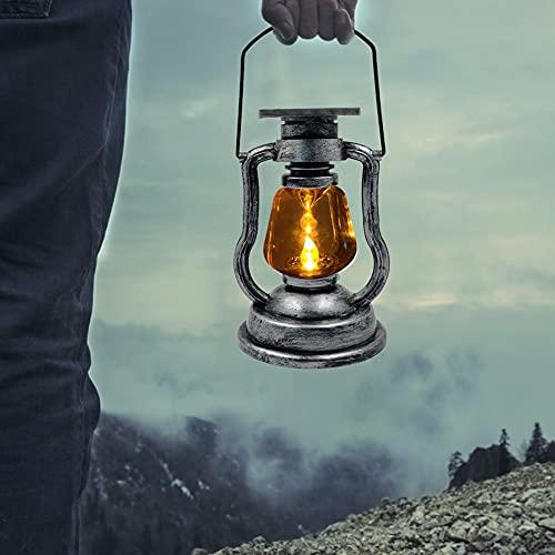 Lámpara de petróleo LED retro, lámpara solar de petróleo para camping al aire libre, retro, clásica, portátil, lámpara de petróleo, lámpara de farol LED, decoración antigua