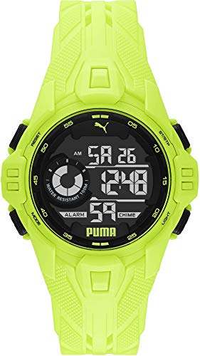 PUMA P5041 Uhr Herrenuhr Plastik Kunststoff 10bar Digital Datum Licht Alarm gelb