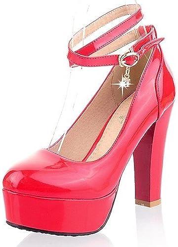 Ggx femmes Cuir verni Chaussures d'été Bout Rond talons Bureau & carrière décontractée Chunky Talon Bucklenoir rouge