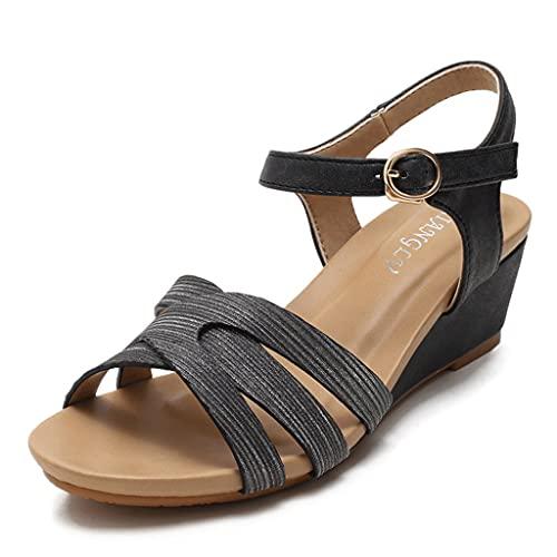 Sandalias para mujer, Mujeres Faux Faux Plataforma Sandalias, Tacón de cuña Toe Abre Tobillo Correa de tobillo, Zapatillas para caminar de vacaciones de ocio EE36-42 ( Color : Black , Size : 42EUR )