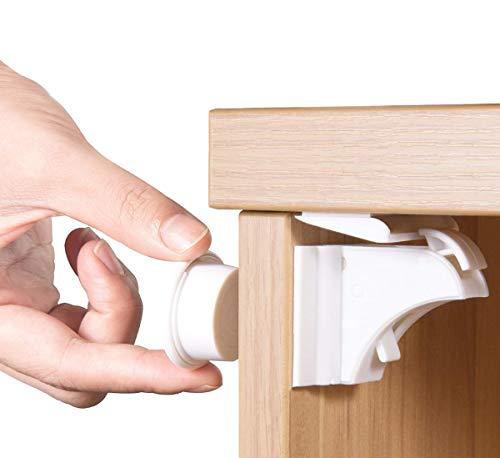 Norjews Baby Sicherheit Magnetisches Schrankschloss(10 Schlösser + 2 Schlüssel) | zum Kindersicherung Schloss für Schränke und Schubladen | Unsichtbare | Klebeband | Ohne Bohren oder Werkzeug