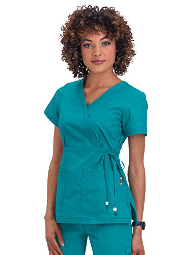 KOI Women's Katelyn Easy-Fit Mock-Wrap Scrub Top with Adjustable Side Tie, Turquoise, Small