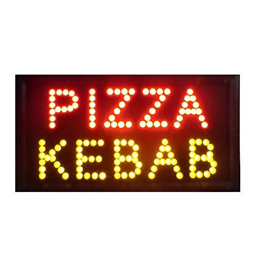 DK_SJ Llevó La Exhibición De Pizza Kebab Abierto - Signos Abierto For Los Negocios, For Hacer Negocios, Paredes, Ventana, Tienda, Muestra De La Oficina (19x10inch)