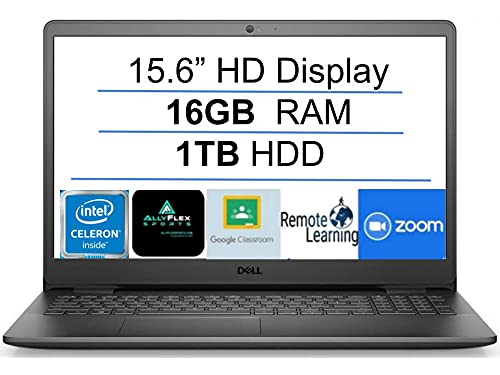 """2021 Newest Dell Inspiron 15 Business Laptop Computer: 15.6"""" HD Display, Intel Dual-Core Celeron N4020(Up to 2.8GHz), 16GB RAM, 1TB HDD, WiFi, Bluetooth, HDMI, Webcam, Windows 10 S, Gift Mousepad"""