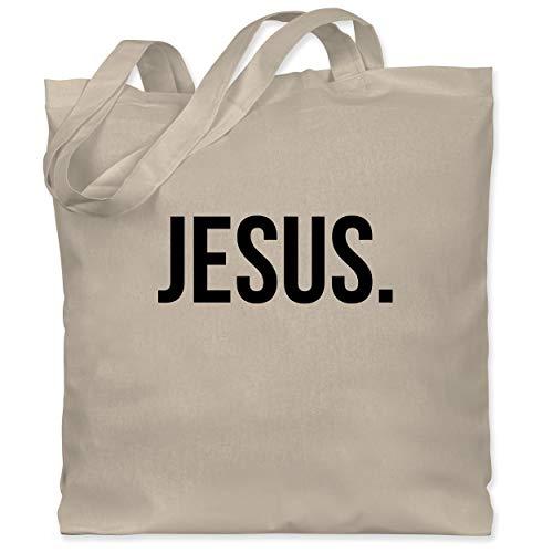 TypoT Statement Glaube Religion - Jesus Christus black - Unisize - Naturweiß - Geschenk - WM101 - Fairtrade Bio Baumwolltasche lange Henkel