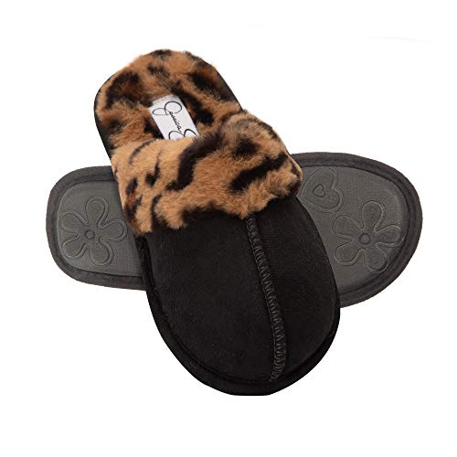Jessica Simpson Girls Comfy Slippers - Cute Faux Fur Slip-On Shoes Memory Foam House Slipper, Leopard, XL