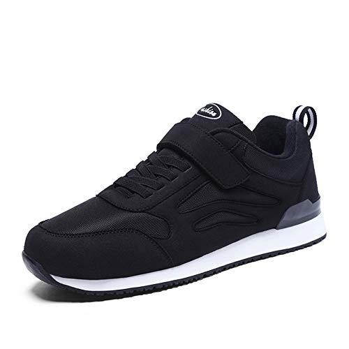 Mens Walking Shoes Casual Lightweight Flats Tennis Gym No-tie Comfort Hook and Loop Sneakers (10.5, Black)