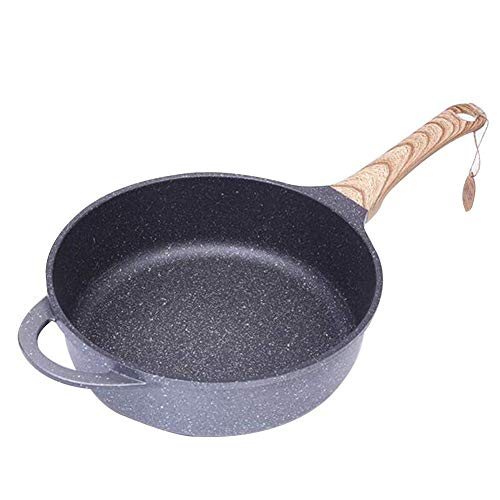 Antiadherente Sartén, mármol trabajo antiadherente Colección de aluminio forjado wok el palillo, cocina de inducción universal, la manija de revestimiento de baquelita Efecto de madera, 28cm Hogar
