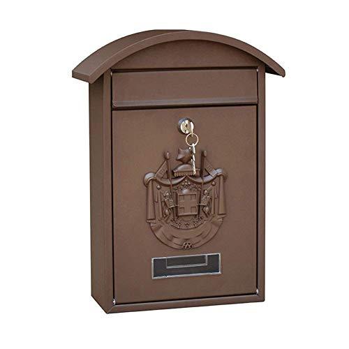 Kyman Wandbriefkasten, Retro-/Vintage-Stil, europäisches Aluminium, für den Außenbereich, Wandmontage, sicherer Briefkasten mit Schloss, sicher und wasserdicht, Farbe: Grün, braun