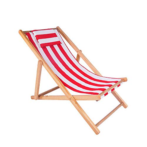 BABYCOW Beach Chair Folding Sun Chair Solid Wood Lounge Chair Canvas Chair Lunch Break Chair Outdoor Portable Lazy Chair Sunbed-Red And White Strip Pillow