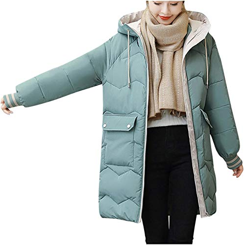 TICOOK Damen Winterjacke Warmer Mantel Schlanker Pelzkragen Reißverschluss Dicker Lange Outwear