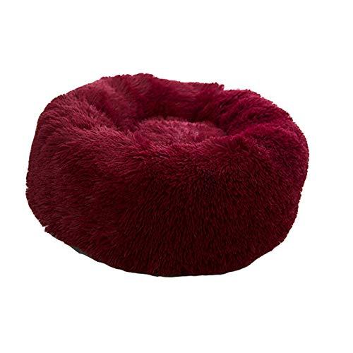 TAHMM Topnotch - Cama suave para mascotas, perrera de perro, gato, redondo, cálido, saco de dormir para invierno, felpa, cojín portátil para cachorro, 46/50/60 cm (color rojo oscuro, tamaño: 100 cm)