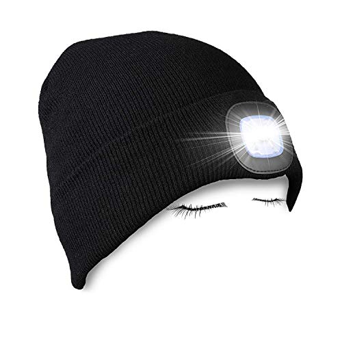PRAVETTE Upgraded LED Lighted Beanie Hat,USB Rechargeable Hands Free Headlamp Cap,Unisex Winter Warmer Knit Hat with Light for Men,Women (Black)
