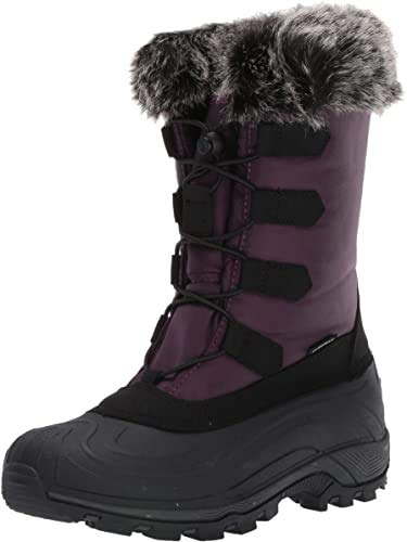 TECS 10in Womens Waterproof Rubber Shell Nylon Winter Snow Boots - Works in -25F/ -32C, Excellent Traction, Easy to Slip on and Lightweight Purple