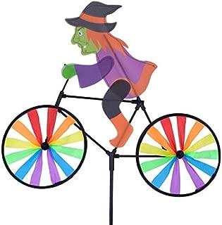 Rama Rose Halloween Bike Spinner, 3D Witch on Bike Wind Spinner, Colorful Rainbow Wheel Windmill, Double Side Whirligig Pinwheel Garden Yard Outdoor Décor