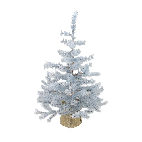 Arett Sales 3' Winter Light Frosted Blue Pine Artificial Christmas Tree with Burlap Base - Unlit